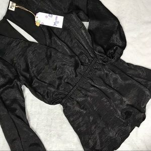 NWT Show Me Your Mumu Kelsey Romper Black Sheen